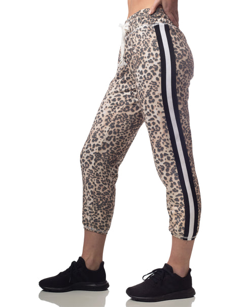 Leopard Striped Cropped Jogger