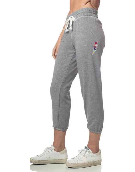 Lightning Bolt Cropped Jogger Heather