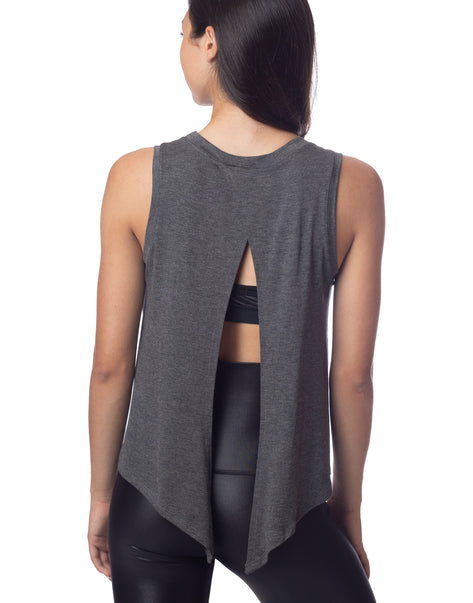 Lucy Tie Back Tank Charcoal