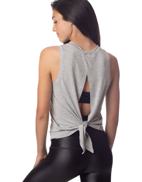 Lucy Tie Back Tank Heather