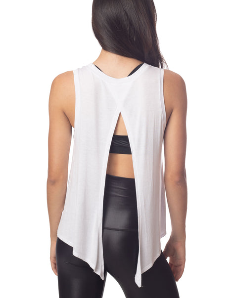 Lucy Tie Back Tank White