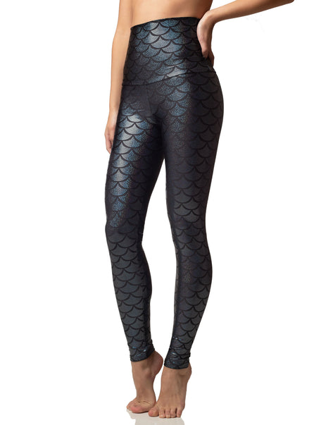 onyx shimmers black sparkle fish scale mermaid legging