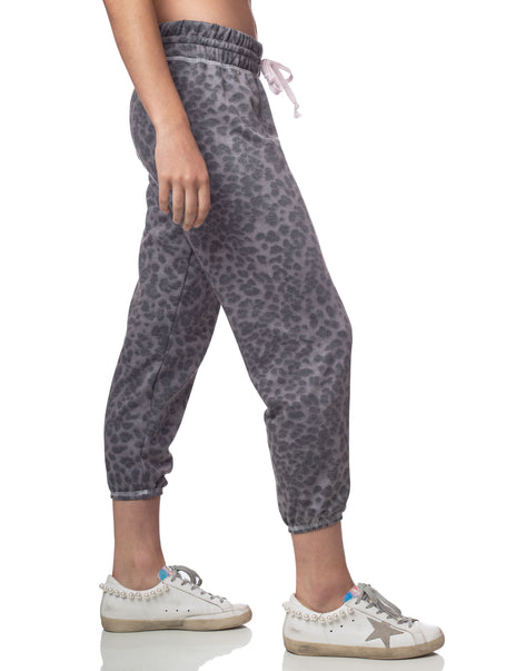 Silver Leopard Cropped Jogger