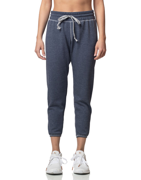 Sky denim blue cropped jogger sweatpant