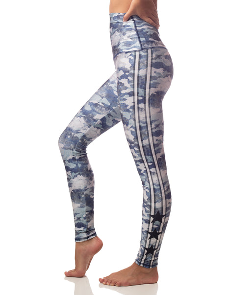 blue camouflage legging with athletic stripes and stars