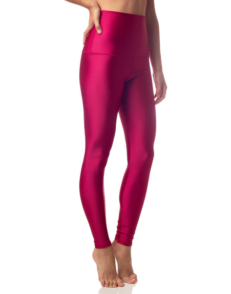 ultraluxe cherry pink red lustrous high waist legging