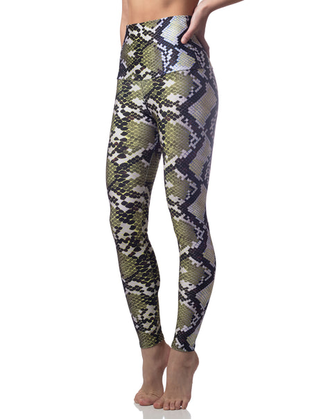 Addison Yellow Blue Snake Print High Waisted Legging
