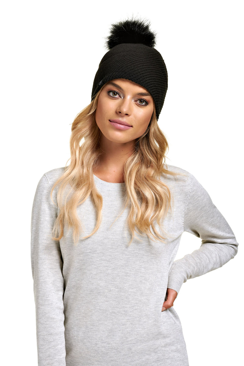 Tuque pompon détachable ALEKSA Black