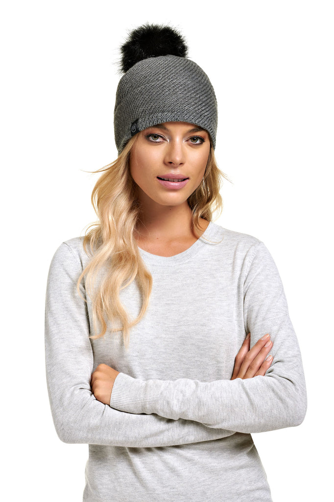 Tuque pompon détachable ALEKSA Grey Mix