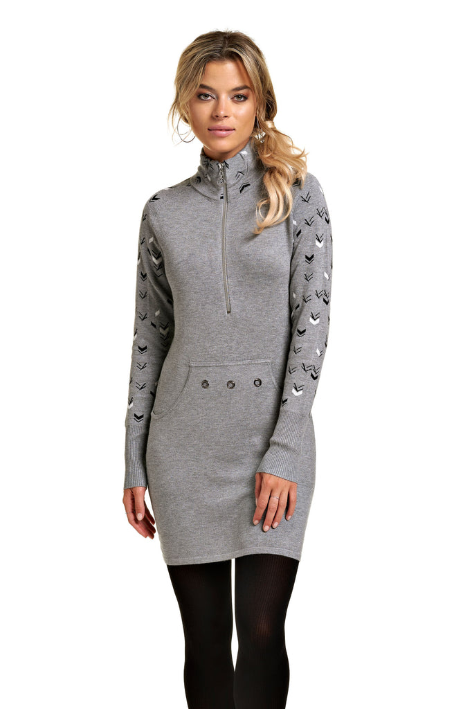 Tunique tricot doux et jacquard ELISSA Grey Heather