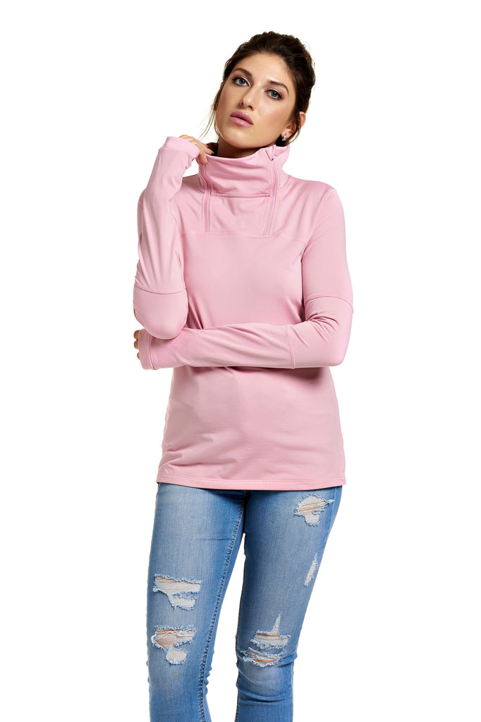 Chandail col montant activewear EVY Pink Nectar