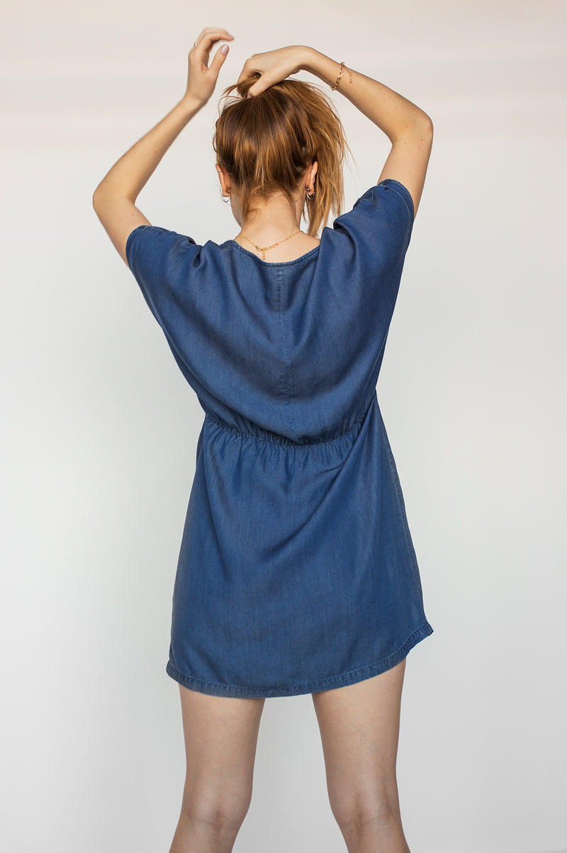 Robe Tencel manches courtes VIRGINIE Blue Denim SP21