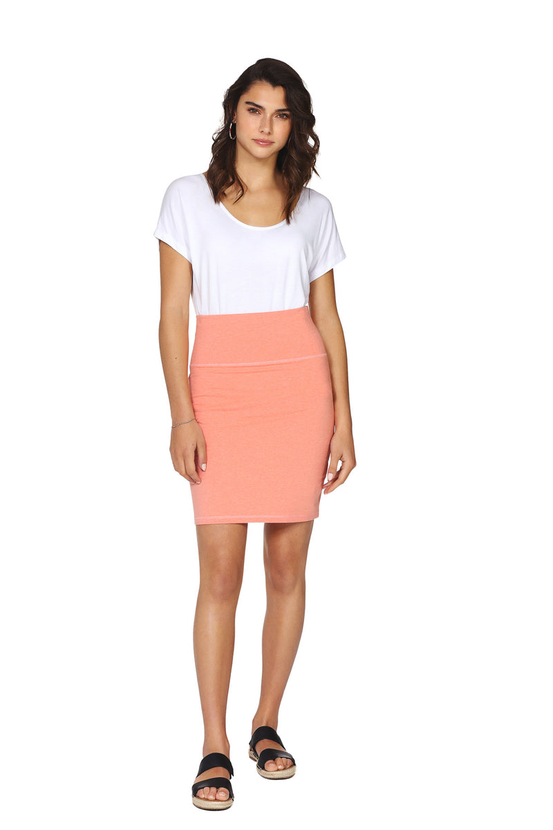 Jupe crayon coton bio KISSI Coral Heather