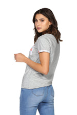 T-shirt POP détails imprimés BEA Grey Heather