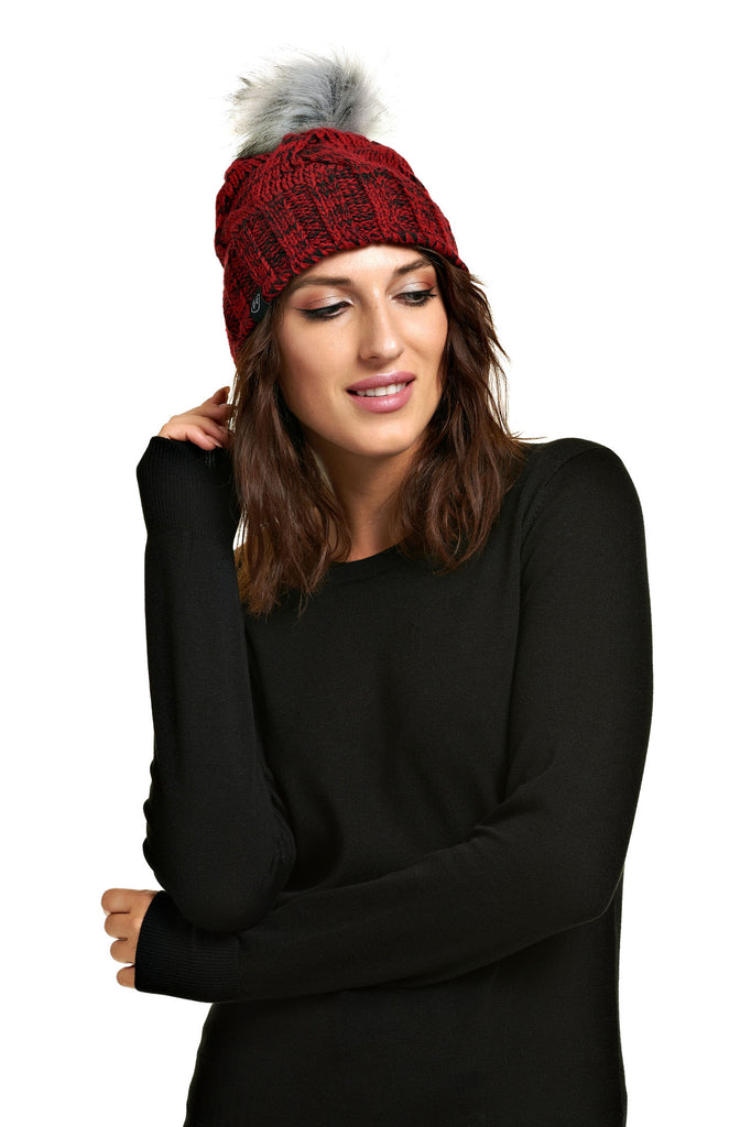 Tuque pompon détachable PRALINE Dark Red