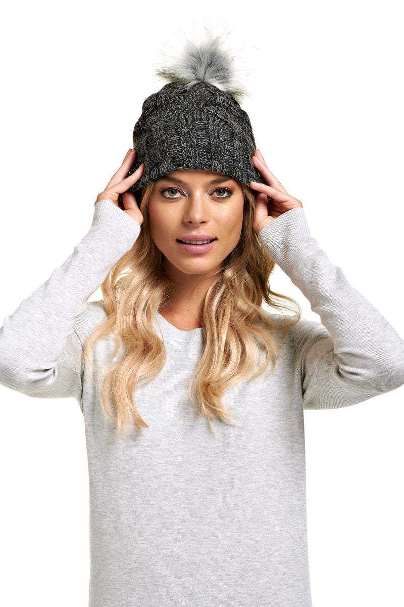 Tuque pompon détachable PRALINE Grey Mix