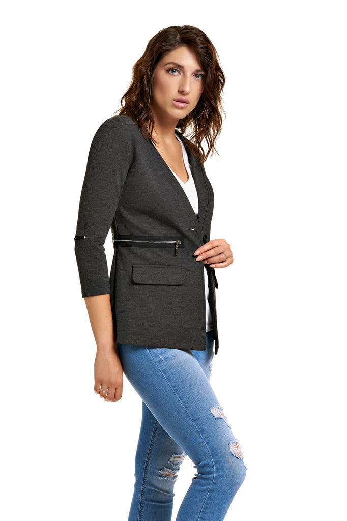 Veste détails zip et mesh ROMELIE Grey Heather