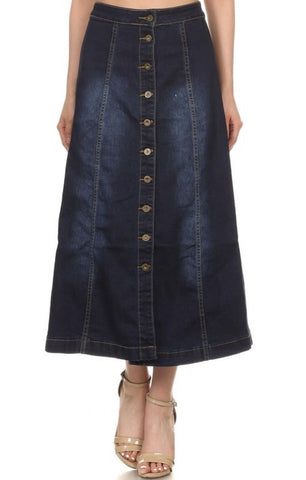 Nina Rossi Long Denim Skirt