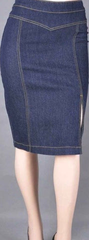 Be-girl Side Split Knee-length Denim Skirt