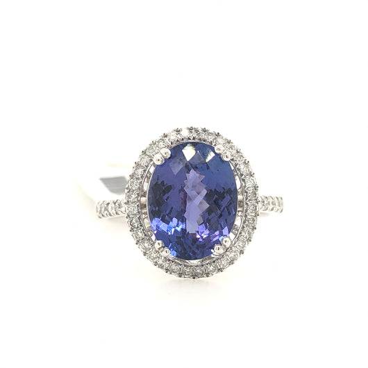 14kt White Gold Tanzanite Diamond Halo Ring