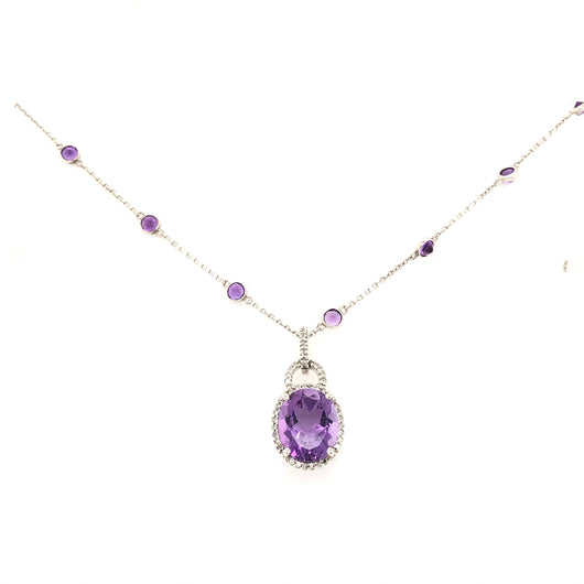 14kt White Gold 5.57ct Amethyst & Diamond Necklace