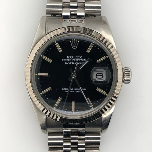 Rolex Vintage Datejust 36mm Black Dial Jubilee Steel Band