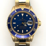 Rolex Blue Submariner Yellow Gold Oyster Band