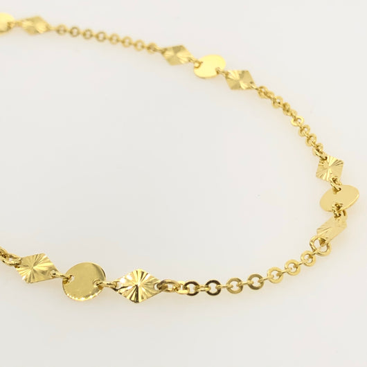 10kt Yellow Gold Star Pattern Anklet
