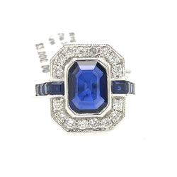14kt White Gold Sapphire Emerald Cut With Diamond Art Deco Womens Ring
