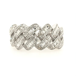 10kt White Gold Diamond Baguette Cuban Mens Ring