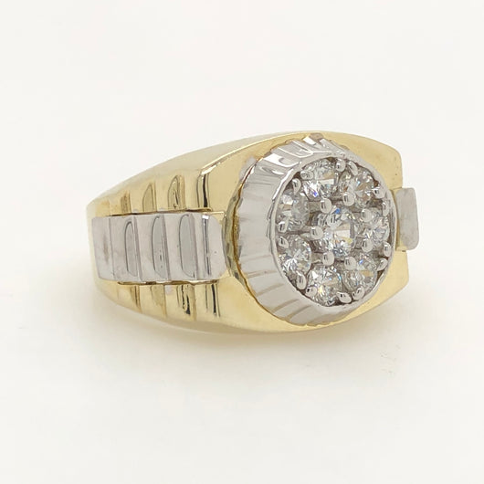10kt Yellow & White Gold President Style Mens Ring