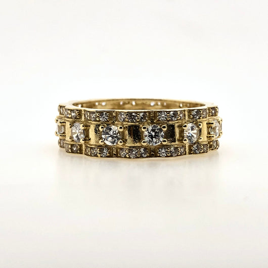 10kt Yellow Gold Full CZ Mens Ring 7mm