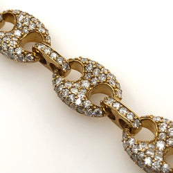 10kt Yellow Gold Diamond Puffed Gucci Link 9 Inches 10mm