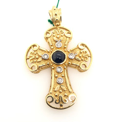 14kt Yellow Gold Diamond Sapphire Cross