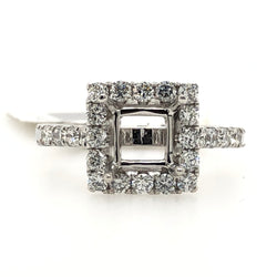 14kt White Gold Diamond Square Halo Engagement Ring 983414