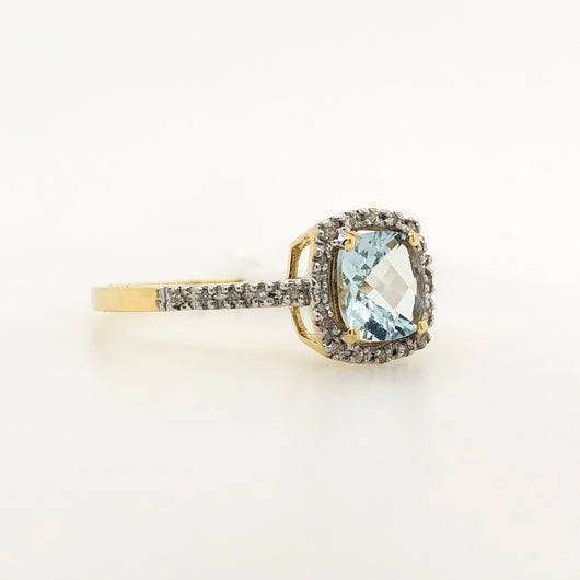 14kt Yellow Gold Aquamarine with Diamond Halo Cushion Cut .95ct