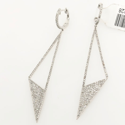 14kt White Gold Diamond Modern Cut Chandelier Earrings .91ct