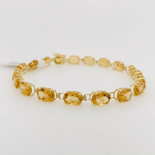 14kt Yellow Gold Citrine Quartz Gemstone Tennis Bracelet