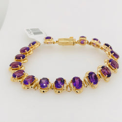14kt Yellow Gold Amethyst Gemstone Tennis Bracelet