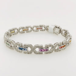 18kt  White Gold Multi Color Sapphire & Diamond Tennis Bracelet