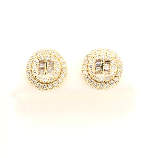 10kt Yellow Gold Round Diamond Earrings Bar Style Baguette Double Halo