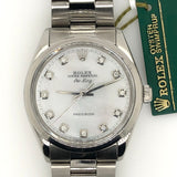 Rolex Air-King 34mm Midsize Mother of Pearl Diamond Dial