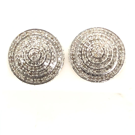 10kt White Gold Diamond Stud Round Cone Step Earrings