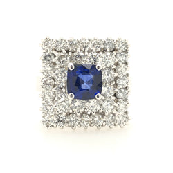 14kt White Gold Diamond Square & Sapphire Center Cocktail Womens Ring