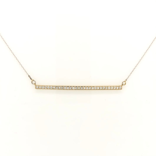 14kt White Gold Diamond Bar 2 Inch Necklace