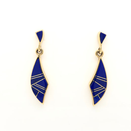 14kt Yellow Gold Lapis Lazuli Inlay Chandelier Earrings