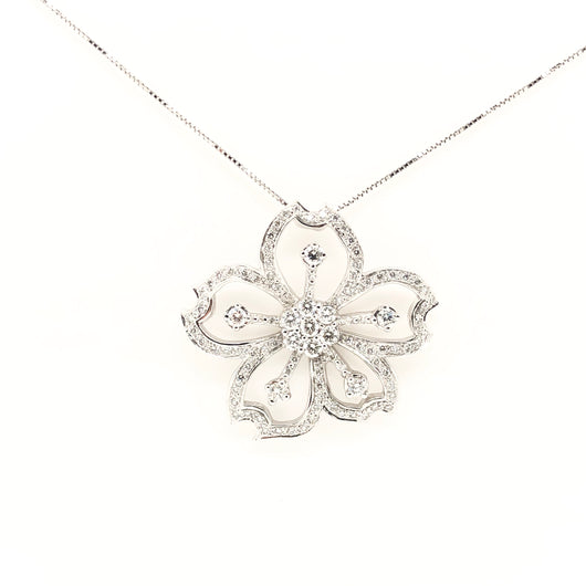 18kt White Gold Diamond Flower .81ct Necklace