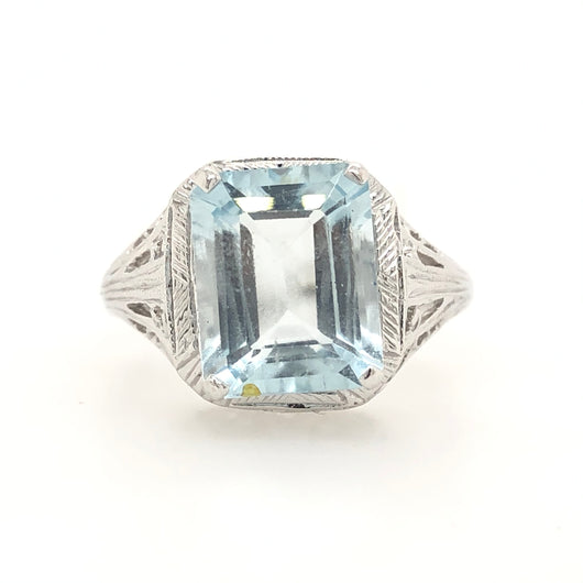 14kt White Gold Aquamarine Filigree Emerald Cut 3ct Ring