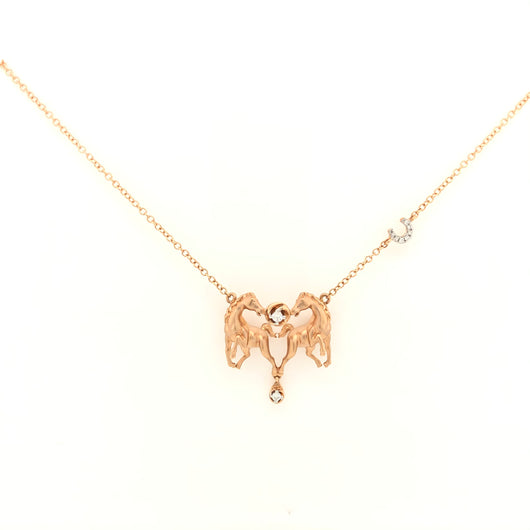 14kt Rose Gold Horse Pendant in Heart with Diamonds Horse Shoe Necklace