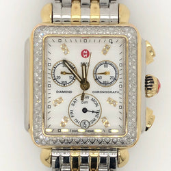 Michele Deco Watch MOP Diamond Dial Two-Tone